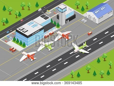 Top View Of Airport Isometric Background With Terminal Building Airplanes On Airfield And Runways Ve