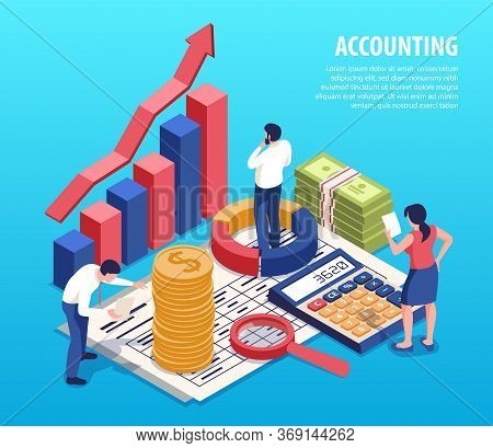 Accounting Isometric Composition With Bookkeepers Business Planning Service Standing On Financial Re