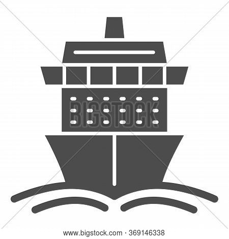 Cruise Ship Solid Icon, Summer Journey Concept, Ship With Waves Sign On White Background, Cruise Tra