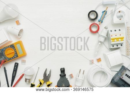 Electric Equipment And Accessories Concept Flat Lay Background With Copy Space. Electrical Works.