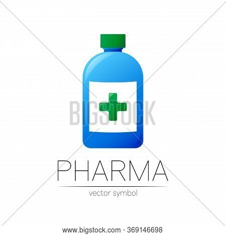 Pharmacy Vector Symbol With Blue Bottle And Green Cross For Pharmacist, Pharma Store, Doctor And Med