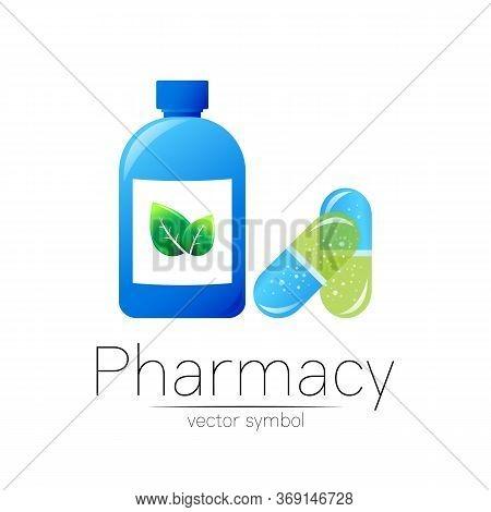 Pharmacy Vector Symbol With Blue Bottle And Green Leaf, Pill Capsule For Pharmacist, Pharma Store, D
