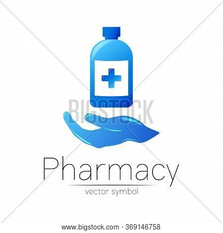 Pharmacy Vector Symbol With Blue Bottle And Cross With Hand For Pharmacist, Pharma Store, Doctor And