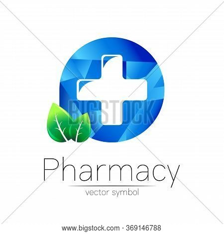 Pharmacy Vector Symbol Of Cross In Blue Circle With Green Leaf For Pharmacist, Pharma Store, Doctor
