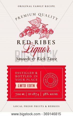 Family Recipe Red Ribes Or Currant Liquor Acohol Label. Abstract Vector Packaging Design Layout. Mod