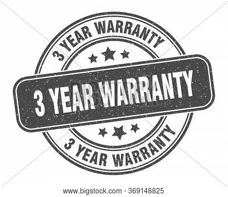 3 Year Warranty Stamp. 3 Year Warranty Label. Round Grunge Sign