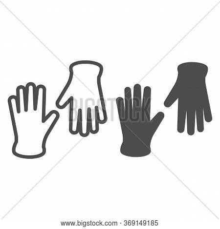 Medical Gloves Line And Solid Icon, Healthcare Concept, Pair Of Surgical Latex Glove Sign On White B