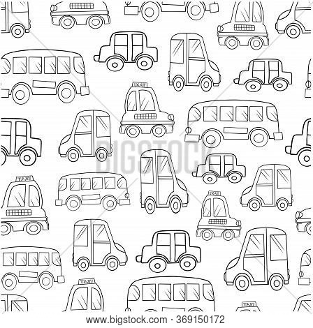 Pattern Seamless Flying Elements Transport Cars Buses Taxi Isolate On White Background For Kids Illu