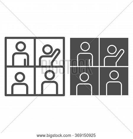 People In Video Conference Line And Solid Icon, Remote Work Concept, Learning Or Meeting Online With