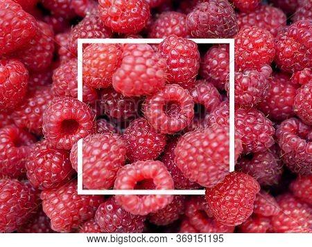 Raspberries Close Up. Macro Photo Food Raspberry Berry. Texture Background Ripe Pink Raspberry Berry