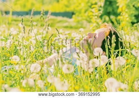 A Beautiful Young Woman Lies In A Field With Dandelions Enjoying Nature And The Warm Rays Of The Sun