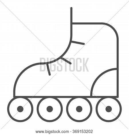 Roller-skates Thin Line Icon, Sport Concept, Roller Skate Sign On White Background, Retro Roller Ska