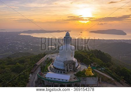 Aerial View Blue Sky And Blue Ocean Are On The Back Of Phuket Big Buddha Statue.\rwhite Phuket Big B