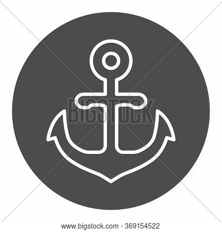 Anchor Emblem In Round Shape Solid Icon, Marine Concept, Anchor Sign On White Background, Nautical E