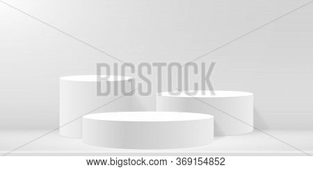 Round Podium Or Pedestal On Minimal Scene Platform. Mockup Of Studio For Product Presentation, Brand