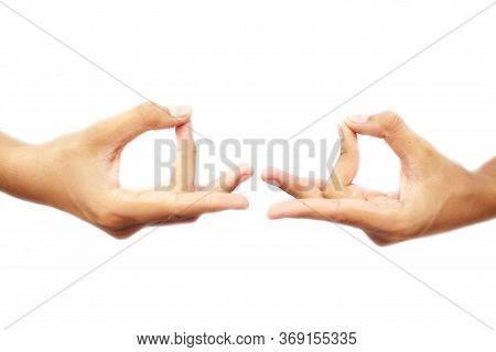 Human Hands Doing Akash Yoga Mudra Isolated On A White-colored Seamless Background. Shot Of Pair Of
