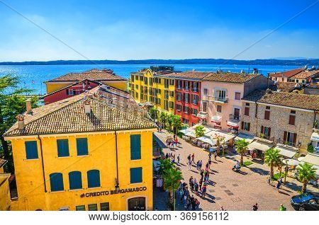 Sirmione, Italy, September 11, 2019: Aerial Panoramic View Of Historical Centre Pedestrian Street Ca
