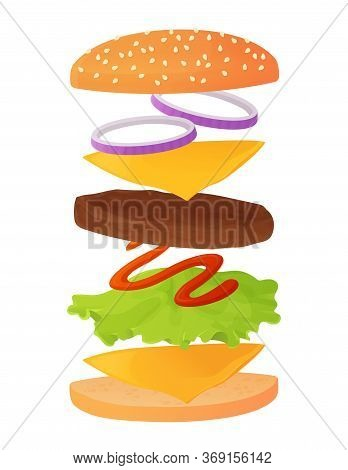 Classic Burger Ingredients Set On Layers. Contain Sesame Bun, Beaf Cutlet Or Meat, Cheese, Lettuce,