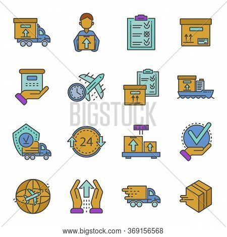 Parcel Dellivery Icon Set. Outline Set Of Parcel Dellivery Vector Icons For Web Design Isolated On W