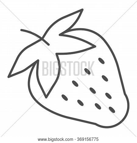 Strawberry Thin Line Icon, Fruits Concept, Strawberries Sign On White Background, Ripe Strawberry Wi