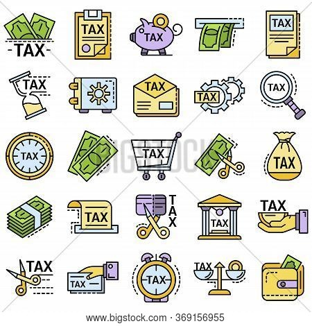 Taxes Icon Set. Outline Set Of Taxes Vector Icons For Web Design Isolated On White Background