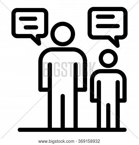 Family Chat Talking Icon. Outline Family Chat Talking Vector Icon For Web Design Isolated On White B