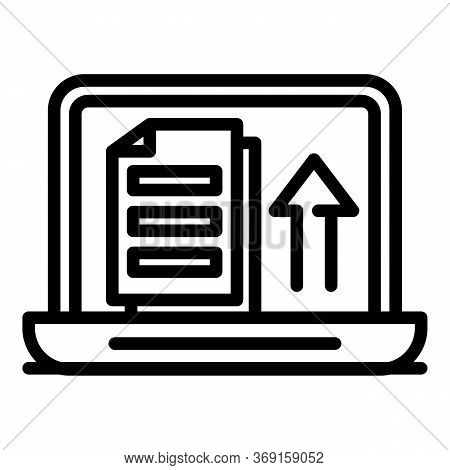 Laptop Upload Documents Icon. Outline Laptop Upload Documents Vector Icon For Web Design Isolated On