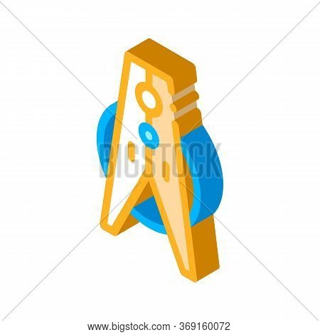 Laundry Service Clothes Peg Vector Isometric Sign. Color Isolated Symbol Illustration