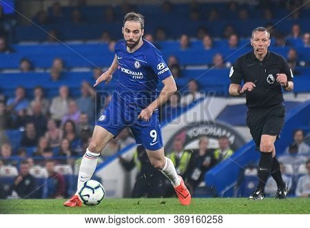 London, England - April 22, 2019: Gonzalo Higuain Of Chelsea Pictured During The 2018/19 Premier Lea