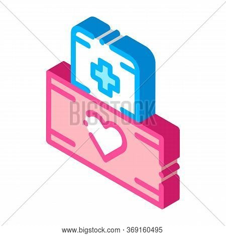 Volunteers Support Medikit Vector Isometric Sign. Color Isolated Symbol Illustration
