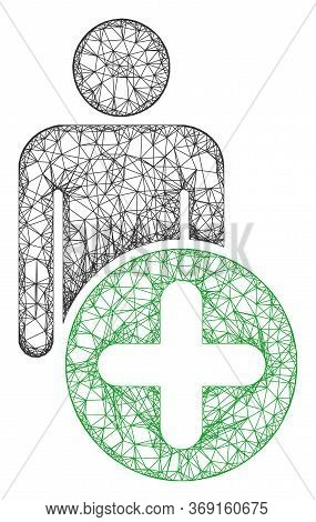 Web Mesh Add Man Figure Vector Icon. Flat 2d Carcass Created From Add Man Figure Pictogram. Abstract