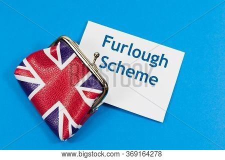 Furlough Scheme Cost Concept - With Union Jack Purse Alongside 'furlough Scheme' Message