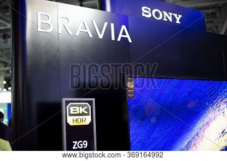 Moscow, Russia - October 04, 2019: First 8k Tv Set Sony Bravia Zg9 Master Series, Android, X1 Ultima
