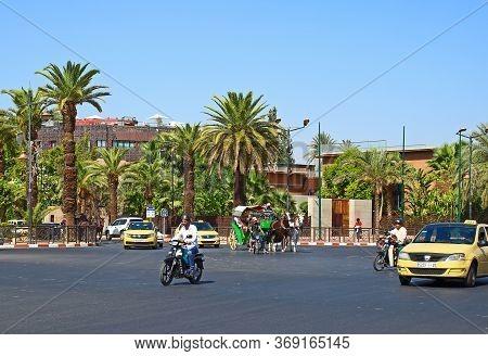 Marrakesh, Morocco - 14 October, 2019: Urban Traffic In The City Of Marrakesh