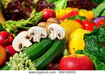 Colorful Appetizing Fruits And Vegetables, A Delicious Looking Closeup Studio Shot Motivating For Se