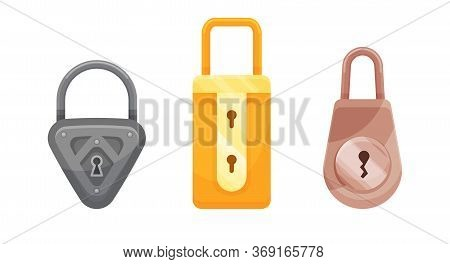 Padlocks. Flat Padlock Icons For Protection Privacy, Web And Mobile Apps. Cartoon Closed Locks. Desi