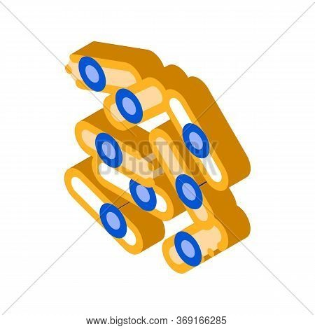 Microscopic Bacterium Sticks Vector Isometric Sign. Color Isolated Symbol Illustration