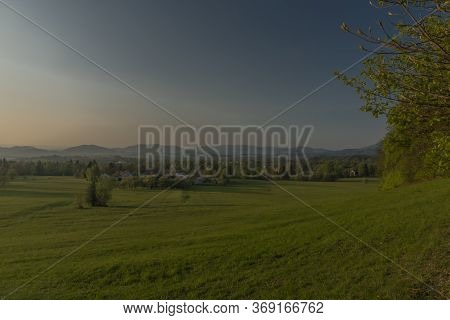 Color Sunset With Fresh Meadows And Old Buidlings Near Trojanovice Village