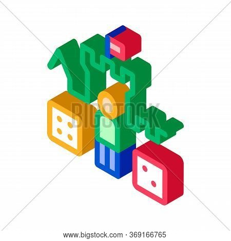 Interactive Kids Castle Personage Vector Isometric Sign. Color Isolated Symbol Illustration