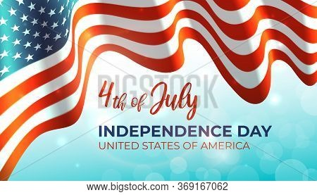Poster 4th Of July Usa Independence Day, American Flag On Blue Shining Bokeh Sky Background. Banner.