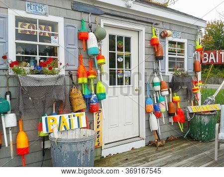 Rye Harbor America - September 30 2014;  Exterior Of Petey's Store With Fishing And Boating Objects