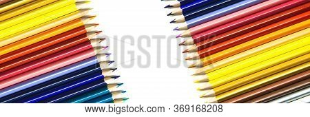 Background Image Of Colorful Pencils Isolated On White Background. Back To School, Education And Lea