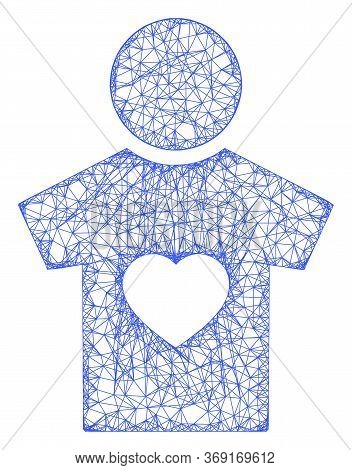 Web Net Boyfriend Vector Icon. Flat 2d Carcass Created From Boyfriend Pictogram. Abstract Carcass Me