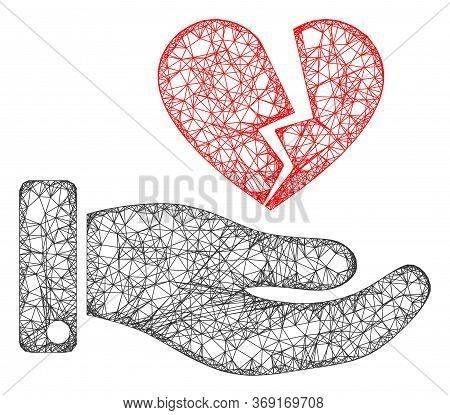 Web Mesh Break Heart Offer Vector Icon. Flat 2d Carcass Created From Break Heart Offer Pictogram. Ab