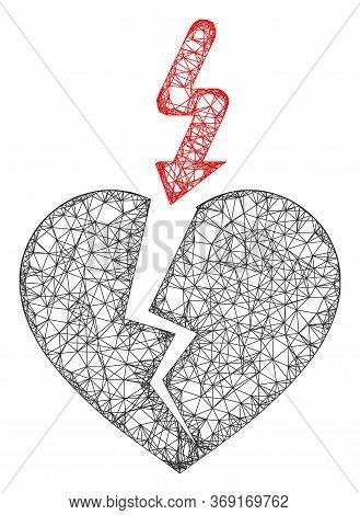 Web Mesh Break Heart Vector Icon. Flat 2d Carcass Created From Break Heart Pictogram. Abstract Carca