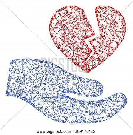 Web Net Broken Heart Offer Hand Vector Icon. Flat 2d Carcass Created From Broken Heart Offer Hand Pi