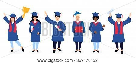 A Group Of Multiethnic Graduates In Graduation Gowns And Mortarboards Celebrate Completion Of Studie