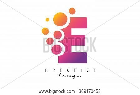 E Letter Logo With Blue Dots Design. Letter E Logotype With Bubbles Bunch. Corporate Branding Identi