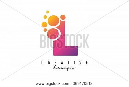 L Letter Logo With Blue Dots Design. Letter L Logotype With Bubbles Bunch. Corporate Branding Identi