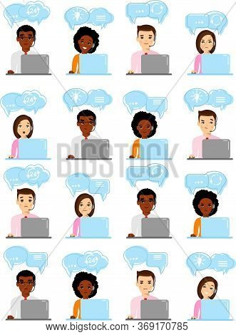 Set Of Helpline Operator With Headset Consulting Client And Shopping Icons .